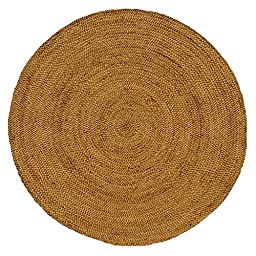 Iron Gate Handspun Jute Braided Area Rug 4 feet round, Handmade by Skilled Artisans, 100% Natural ecofriendly Jute yarns, Thick ribbed construction, Reversible for double the wear, Rug pad recommended
