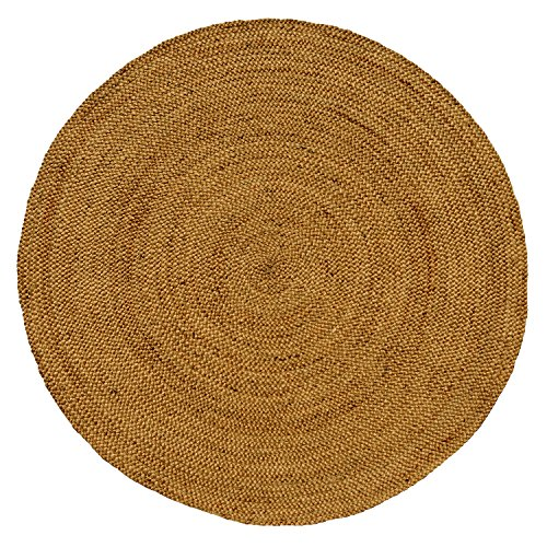 Iron Gate Handspun Jute Braided Area Rug 6 feet round, Handmade by Skilled Artisans, 100% Natural ecofriendly Jute yarns, Thick ribbed construction, Reversible for double the wear, Rug pad recommended (6 Feet Gates compare prices)
