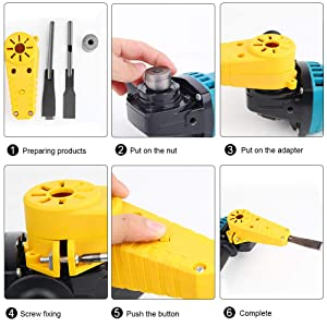 Mokylor Wood Carving Electric Chisel,Woodworking Tool, M10 Adapter Set Changed 100 Angle Grinder Into Power Chisel