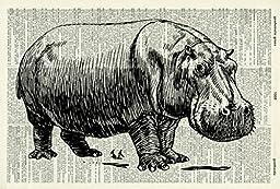 HIPPOPOTAMUS ART PRINT - VINTAGE ART PRINT - BLACK & WHITE ART PRINT - Illustration - Animal Art Print - Picture - Vintage Dictionary Art Print - Wall Art Print - Home Décor - Book Print 100D