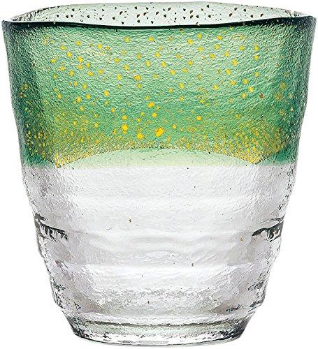 焼酎グラス 和がらす温 お湯わり焼酎ぐらす お湯割り 金箔 緑 300ml 42130TS-G-WHDG