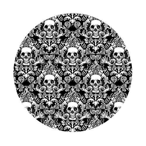 Atnee Creative Skull Damasks Design Round Coaster