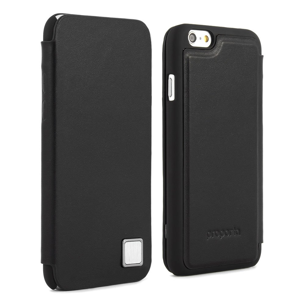 Proporta iPhone 6 (4.7 ) Cases with Aluminium lined Genuine leather case cover sleek and slim protective magnetic closure case for iPhone 6 protective scratch proof cover for iphone 6 4.7inch   Slate BlackCustomer reviews and more news