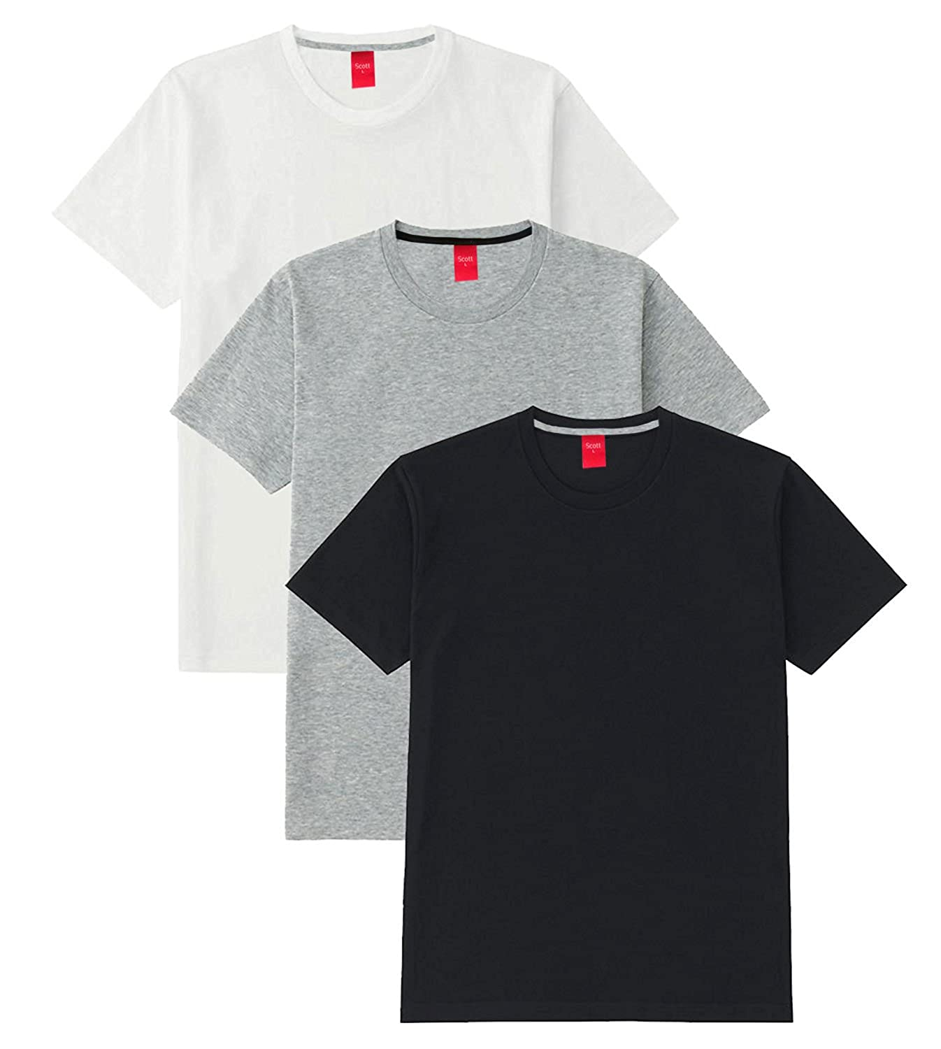 Black t shirt v shape - Scott Men S Basic Cotton Round Neck Half Sleeve Solid T Shirts Pack Of 3
