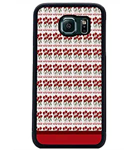 PrintDhaba Heart Pattern D-1664 Back Case Cover for SAMSUNG GALAXY S6 EDGE (Multi-Coloured)