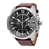 Diesel Men's Mega Chief Quartz Stainless Steel and Leather Chronograph Watch, Color: Silver-Tone, Brown (Model: DZ4290) (Color: Brown/Gunmetal)