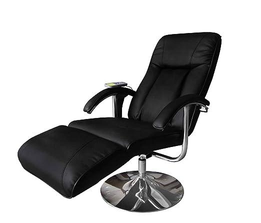 Eléctrico TV Sillón de Masaje Reclinable Negro Silla de masaje