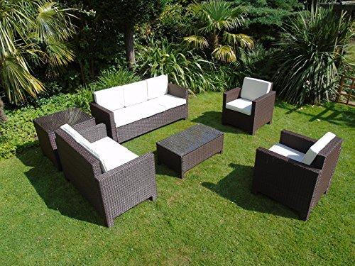 Neu Rattan Flechtweide Wintergarten Outdoor Gartenmöbel Set - Dunkel gemischt braun