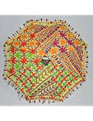 Designer Indian Ethnic Handcrafted Embroidery Work Cotton Umbrella Yellow 24 X 28