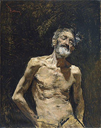 Polyster Canvas ,the High Resolution Art Decorative Prints On Canvas Of Oil Painting 'Fortuny Marsal Mariano Nude Old Man In The Sun Ca 1871 ', 24 X 30 Inch / 61 X 77 Cm Is Best For Kids Room Artwork And Home Decoration And Gifts