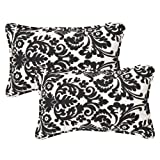 Pillow Perfect Decorative Black/Beige Damask Toss Pillows, Rectangle, 2-Pack