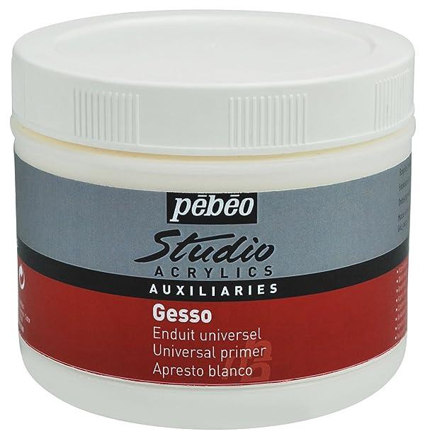 PEBEO Studio Acrylics Auxiliaries, Gesso Universal Primer, 500 ml - White (Color: White, Tamaño: 500 ml)