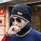 coLiny  ニット帽 + ネックウォーマー の2件セット ハット 内側に暖かい綿毛 今シーズンも大流行のマストハブアイテム!! ブラック