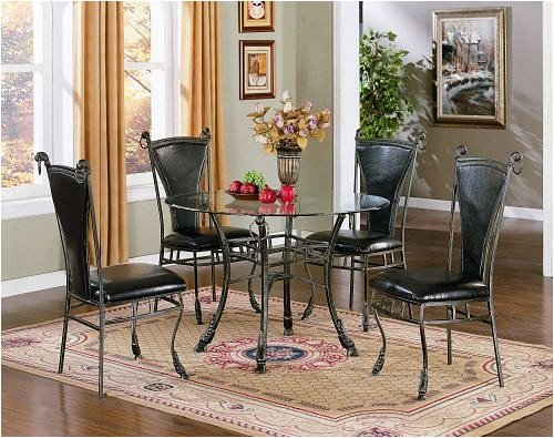 Cheap Glass Top Table Leatherette Chairs Five Piece Set (VF_AZ03-11134)