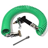 Boeray Heavy Duty Truck Air Duster Blow Gun Cleaning with 9 Meter Long Coil and 2 interchangeable nozzle tips- Green Air Seat Blow Gun Kit (Color: Green)