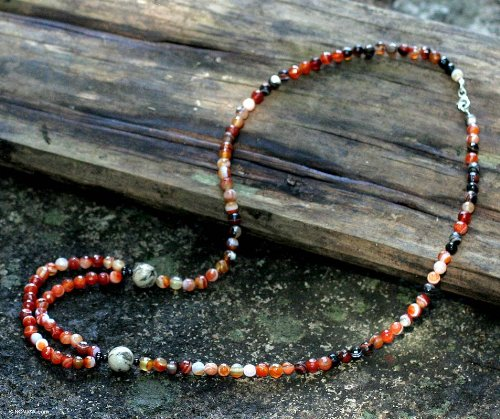 Onyx and carnelian long necklace, 'Festivity'