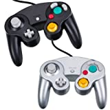 COOLEAD Gamecube Controller - Gaming Joysticks, 2 Packs Wired Game Contoller Gamepad for GameCube Wii(Black and Sliver)