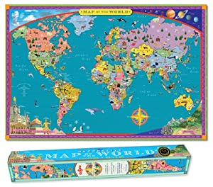 World MAP Kids Geography Educational Poster Art