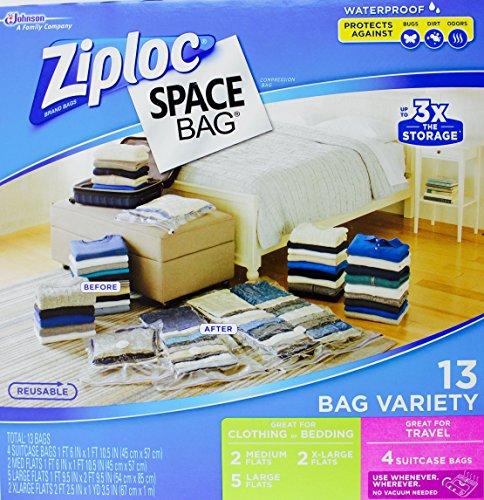 Ziploc Space Bag- Vacuum Seal Bag- 13 Bag Variety- 4 Travel, 2 Med, 5 Lrg, 2 XL (Vacuum Seal Bags Ziploc compare prices)