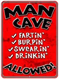 Man Cave - Red Burpin Metal Parking Sign from Redeye Laserworks