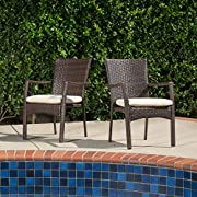 Great Deal Furniture (Set of 2) Melba Outdoor Brown Wicker Dining Chair with Beige Cushion