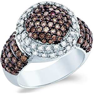 10k White Gold Chocolate Brown and White Diamond Large Puffed Round Cut Womens Fashion Cocktail Anniversary Ring Band