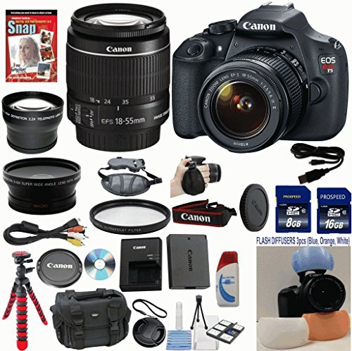 Canon EOS Rebel T5 DSLR CMOS Digital SLR Camera and DIGIC Imaging with EF-S 18-55mm f/3.5-5.6 IS Lens Celltime Exclusive Bundle with Wide Angle Lens + Telephoto Lens + Professional Bendi Tripod + High Definition UV Filters + 24GB Memory + 14pc Accessory Kit