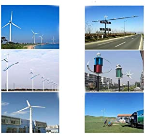 LWQ Wind Generator 800W, 12V / 24V/48V 6 Horizontal Blades Aeolian Wind Power Generator Windmill Turbines Charge for Home Or Camping,48v (Color: 48V)
