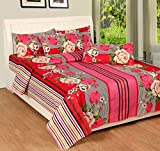 Soni Traders Floral Print Polycotton Double Bedsheet With 2 Pillow Covers (BST_093, Pink)