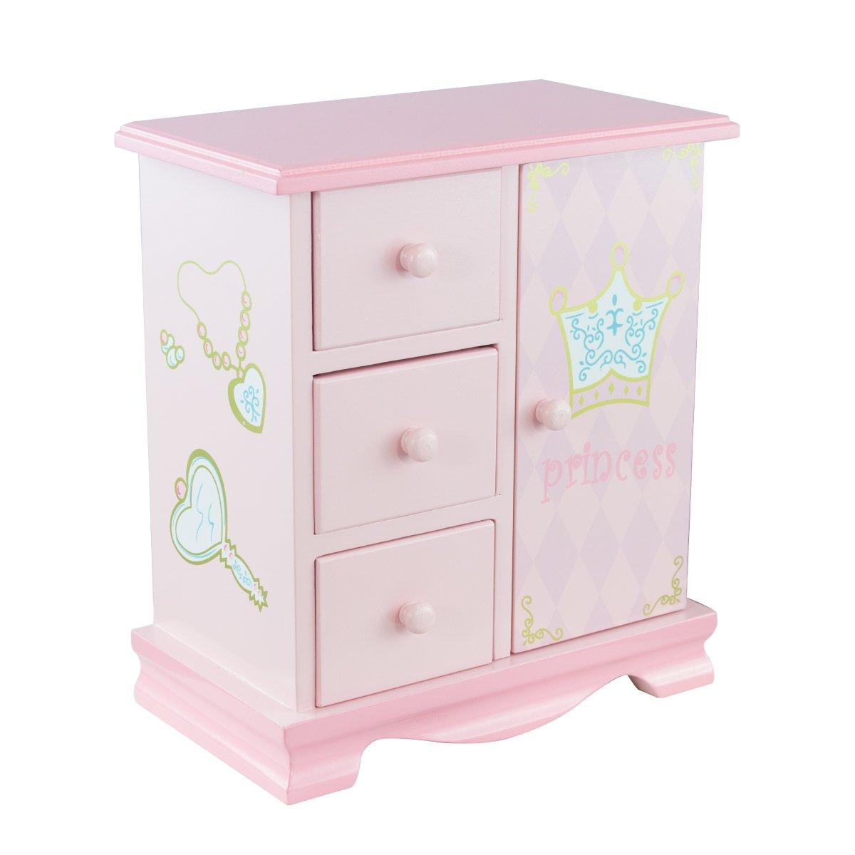 Teamson Kids Princess 3 Drawer/1 Door Jewelry Music Box Toy, Pink
