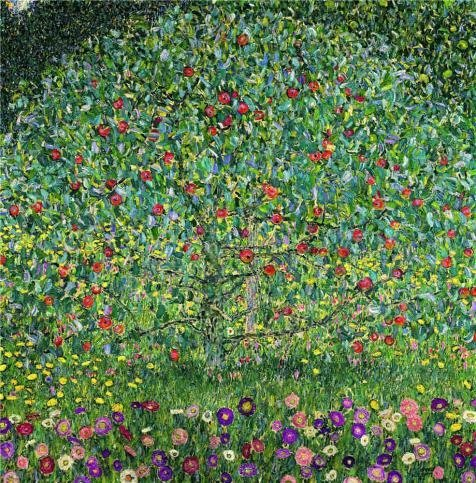 Perfect Effect Canvas ,the High Quality Art Decorative Prints On Canvas Of Oil Painting 'Gustav Klimt-Apple Tree,1912', 18x18 Inch / 46x46 Cm Is Best For Laundry Room Gallery Art And Home Artwork And Gifts