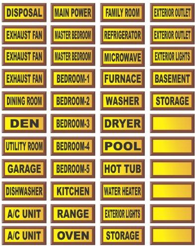 Electrical Circuit Breaker Waterproof Decal Labels
