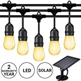 Fule Solar Outdoor String Lights,Heavy Duty S14 LED String Light 48FT,15 Hanging Sockets,1W Plastic Vantage Bulbs,Create Ambiance for Backyard Party Decoration/Cafe/Garden/Patio (Color: Warm White(2200K), Tamaño: Solar-48FT)