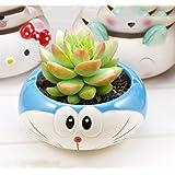 YOURNELO Cute Ceramic Cartoon Character Plant Flower Pot Succulent Planters Vase (Doraemon) (Color: Doraemon)