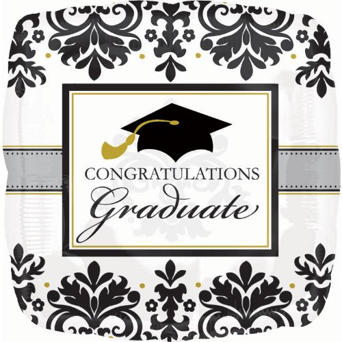 Black & White Grad Graduation Foil Balloon - Official Party Supplies