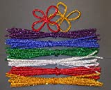 Glitter Sparkle Pipe Cleaners Pack of 100 - Length 30cm Chenille Tinsel Craft Stems Kids Children Arts and Crafts