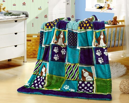 "New Baby Size Super Soft Blanket Hight Quality 100% Polyester Animal Cartoon Bed Plush Throws Puppy 39"" X 51"" front-624226"