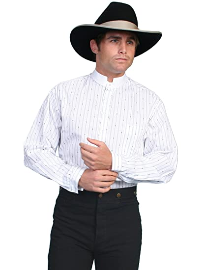 Victorian Men's Shirts- Wingtip, Gambler, Bib, Collarless Pinkerton Stripe Shirt  AT vintagedancer.com