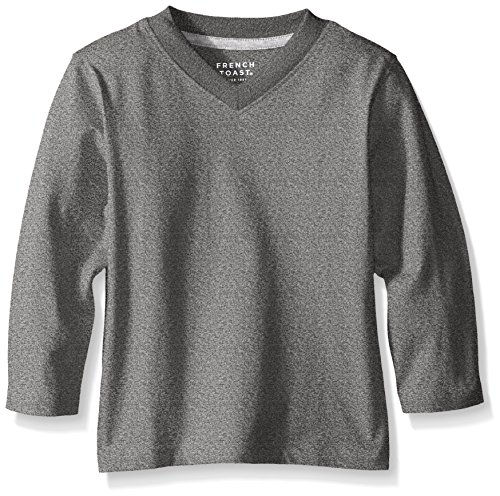 French Toast Toddler Boys Basic Long Sleeve V-Neck Tee, Marled Gray, 2T