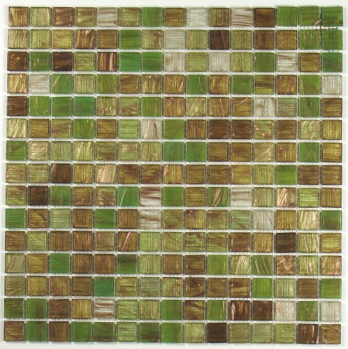 Green Apple Brown Copper Glass Tile Blend 3/4