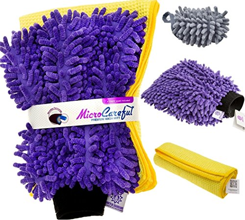 MicroCareful Premium Car Wash Mitt with 4 Bonuses - Unique Professional Microfiber Detailing Kit (XL Wasing Mitt + XS Duster + L Dry Towel) and eBook (Rv Smart Dryer compare prices)