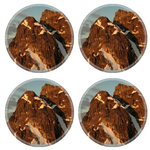 High In The Mountains Of Hamborgerland Island West Coast Of Greenland Round Coaster (4 Piece) Set Fabric Rubber 5 Inch Size Liil Coaster Cup Mug Can Water Bottle Drink Coasters Stain Resistance Collector Kit Kitchen Table Top Desk front-736100