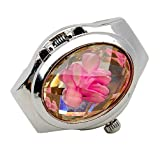Ameesi Women's Fashion Luxury Rhinestone Ring Watch Oval Cover Mini Quartz Watch - Pink Pack of 1 (Color: Pink)