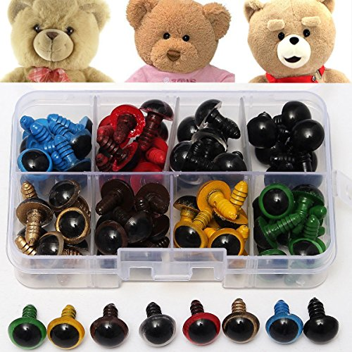 80Pcs 12mm 8Colors Plastic Safety Eyes Washers Kids Teddy Bear Doll Animal Toys Handmade Craft Tool (Kidcraft Washer compare prices)