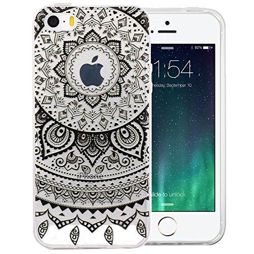 JIAXIUFEN TPU Gel Silicone Protettivo Skin Custodia Protettiva Shell Case Cover Per Apple iPhone 5 5S SE - Black Circle Flower Tribal Mandala