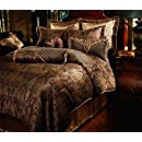 8pc Southern Textiles Manchester Gold Black Luxury King Bedding Bed In A Bag Comforter Set
