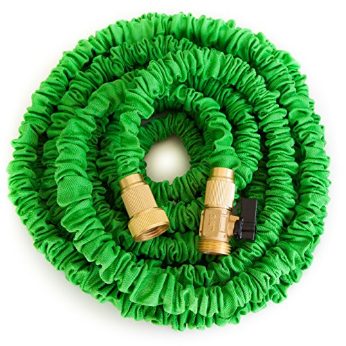 GreenThumbing 50ft Expandable Garden Water Hose. Double Latex Layers, Flexible, Brass Fittings, Expanding Garden Water Hose (Dual Flex Expandable Hose compare prices)