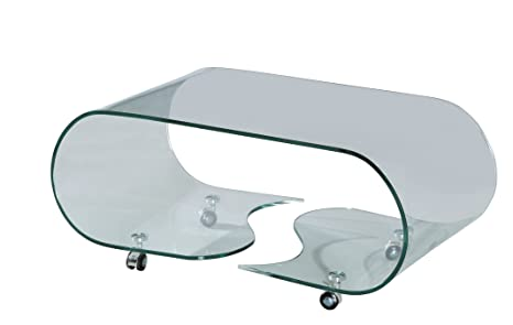 Rainbow Home Furniture CT-375-2 Bent Glass Rolling Coffee Table, Clear