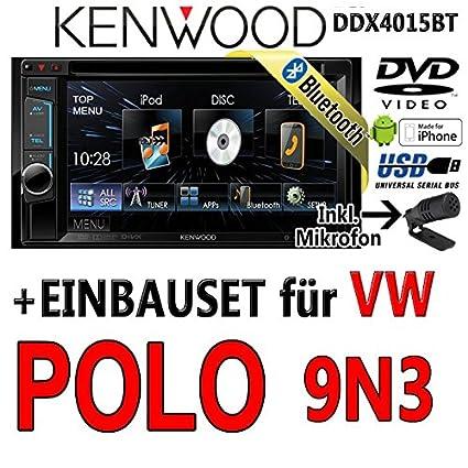 Volkswagen polo 9N3 dDX4015BT-kenwood autoradio multimédia 2 dIN avec kit de montage