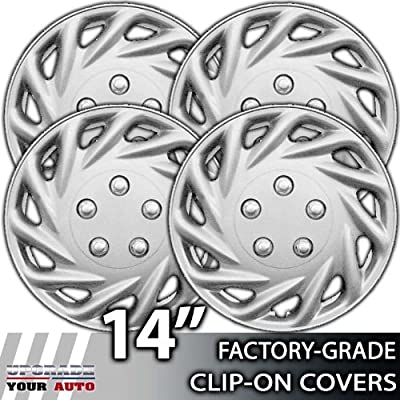 14 Inch Universal Clip-On Silver Metallic Hubcap Covers